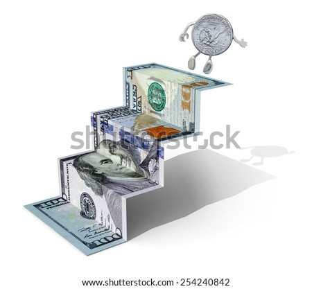 one dollar coin climbs above 100 dollar banknote folded as steps on white background, 3d illustration