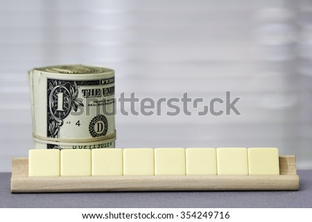 One dollar Copy Space for eight letters - stock photo