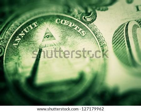 One dollar detail pyramid. Tilt-shift lens use. - stock photo