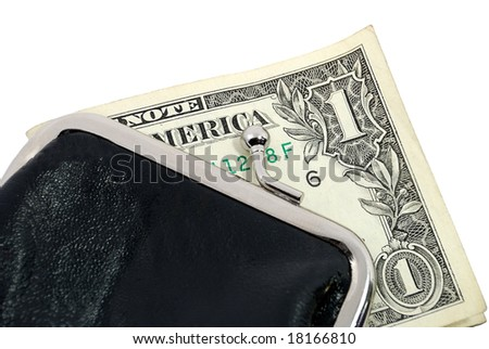 One dollar in a purse isolated on white - stock photo