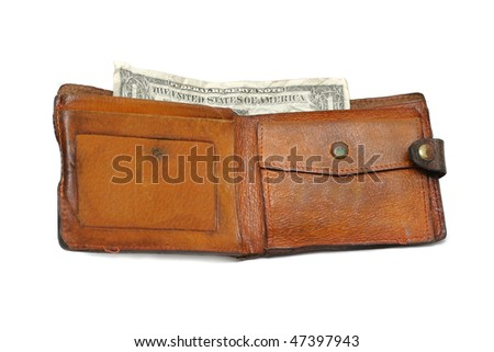 One dollar in the wallet isolated