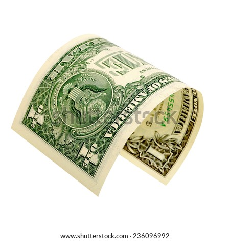One dollar isolated on a white background. - stock photo