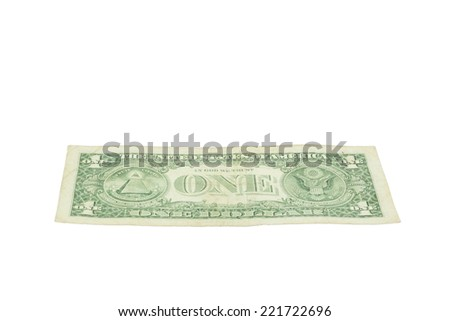 One dollar United states currency on white