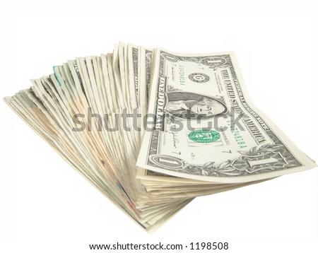 One Dollar US Bills - stock photo