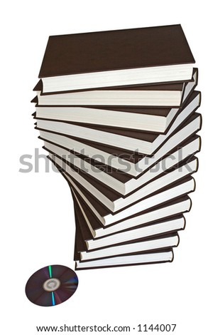 One DVD disk replaces a spiral pile of books.(clipping path included) - stock photo