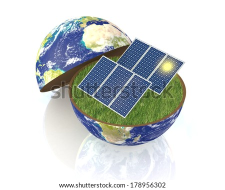 one earth globe divided into two parts, with a lawn and solar panels; concept of renewable energy and environmental conservation;Elements of this image furnished by NASA  (3d render) - stock photo