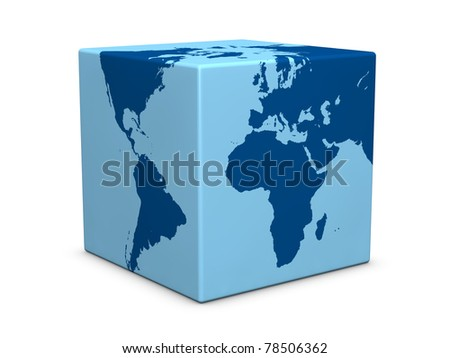 one earth globe formed with a cube instead of a sphere (3d render)
