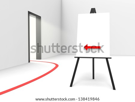 One easel with a canvas and an arrow pointing at a bright illuminated doorway. Perfect for pasting your own content such as business-, religious- or therapeutic concepts.