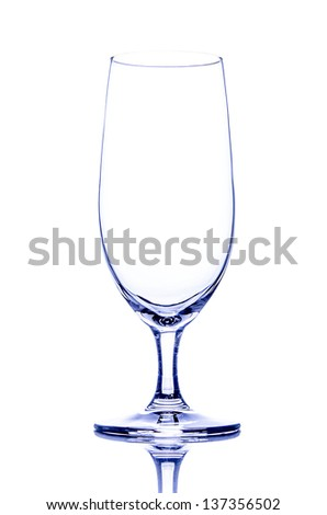 One empty beer glass on white - stock photo