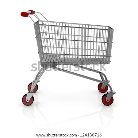 one empty shopping cart with red wheels (3d render) - stock photo