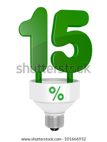 one energy saving light bulb with the number fifteen instead of the pipe (3d render)