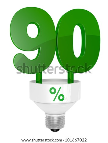 one energy saving light bulb with the number ninety instead of the pipe (3d render)