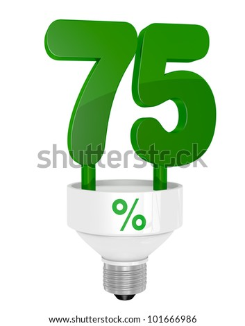 one energy saving light bulb with the number seventy five instead of the pipe (3d render)