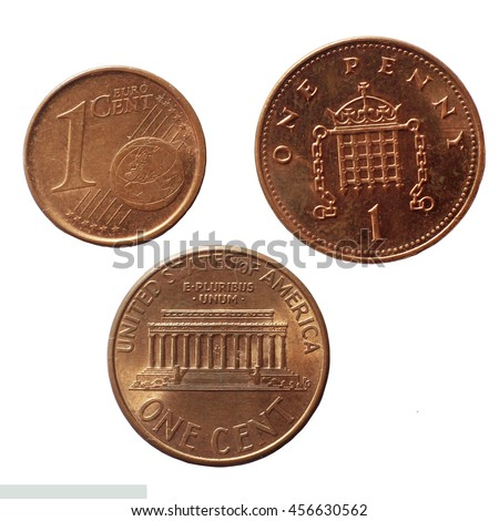 One Euro Cent One Penny One Cent Dollar - stock photo