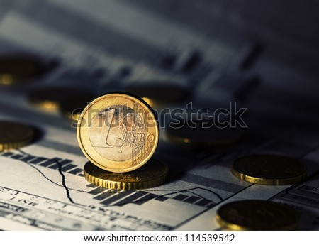 One Euro coin. Finance system concept. - stock photo