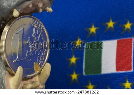 One Euro coin, Flag of Italy - stock photo