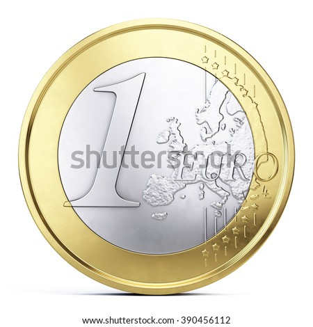One euro coin isolated on white - front view - stock photo