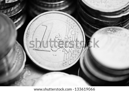 One euro coin. Money concept. Black and white style. - stock photo
