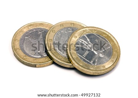 one euro coins - isolated on white - stock photo