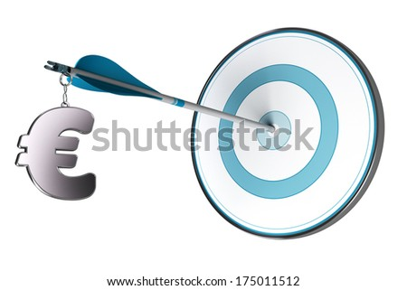 One Euro symbol fixed on an arrow. Conceptual image suitable for financial investment in European Community, asset management or financial advisory. - stock photo