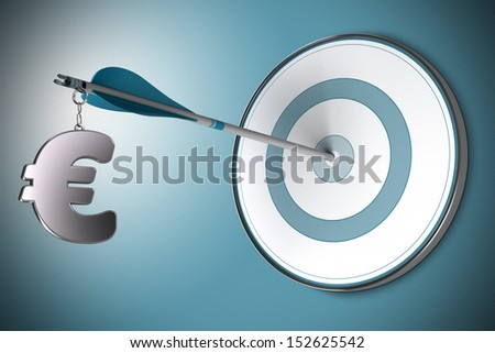 One Euro symbol fixed on an arrow. Conceptual image suitable for financial investment in Euros, asset management or financial advisory. - stock photo