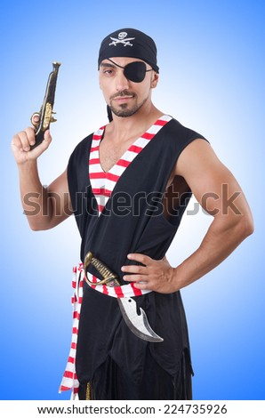 One eyed pirate isolated on the white - stock photo