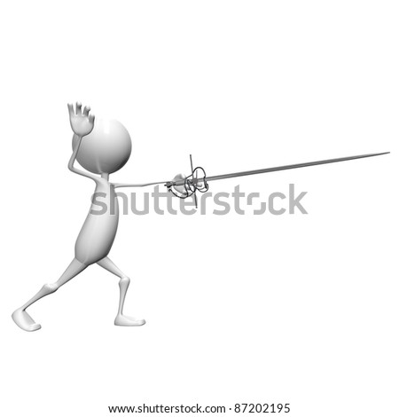 One fencers (3d isolated on white background)