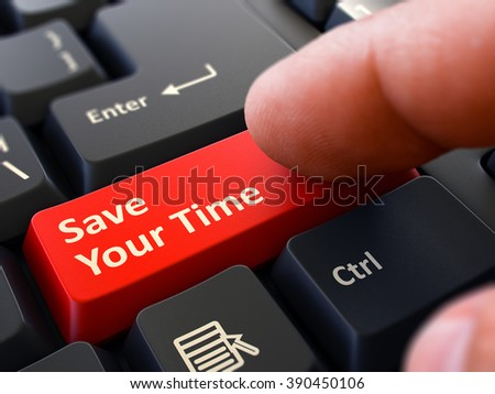 One Finger Presses Red Button Save Your Time on Black Computer Keyboard. Closeup View. Selective Focus. 3D Render. - stock photo