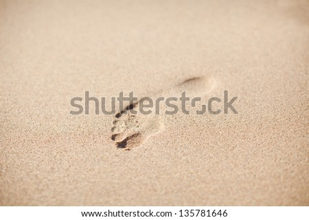 one footprints on sand