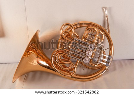 One french horn on grey background - stock photo