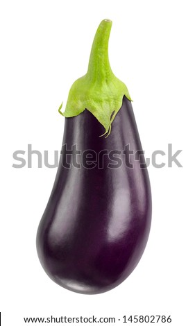 One fresh eggplant isolated on white - stock photo