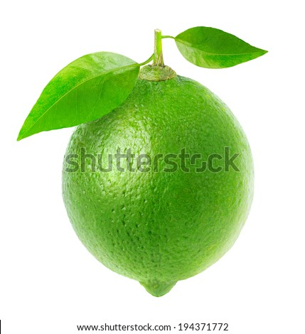 One fresh lime with leaves isolated on white - stock photo