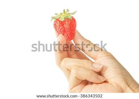 One fresh strawberries in human hand on white background. - stock photo