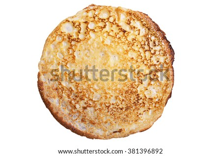 One fried pancake isolated on white background, top view