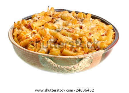 One full pan of homemade baked ziti on a white background. - stock photo