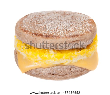 one full size egg muffin with melted cheese on an English muffin - stock photo