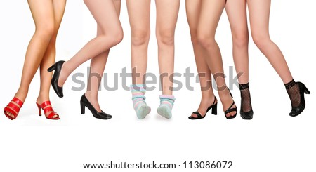 one girl in socks and four women in shoes