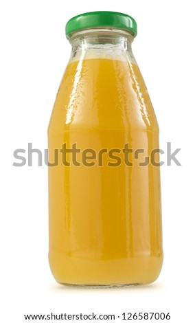 one glass bottle containing orange juice with green lid - stock photo