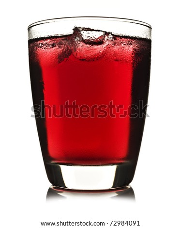 One glass of red fruit juice with ice on a white background - stock photo
