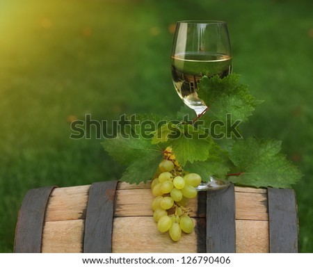 One glass of white wine and grape leaves of the grape on the wine barrel. Close up