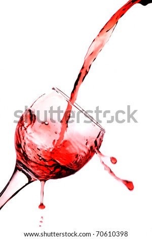 One glass with red wine isolated on white backround - stock photo