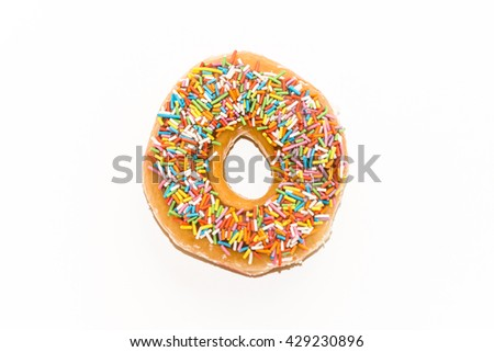One glazed donut with sprinkles  isolated on a white background - stock photo