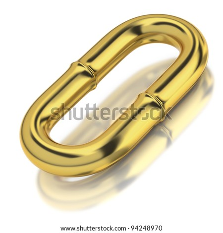 One golden chain link on white background - stock photo