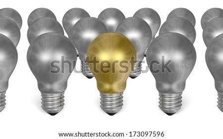 One golden light bulb among many silver ones isolated on white background
