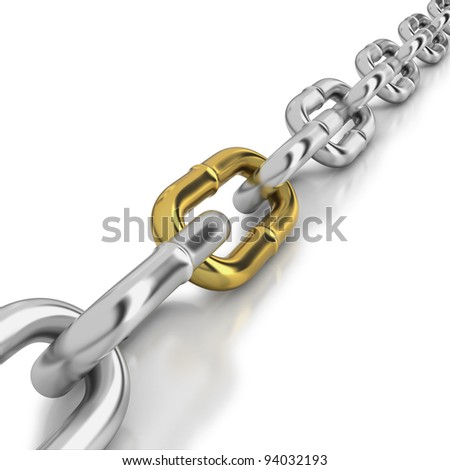One golden link in a chrome chain - stock photo