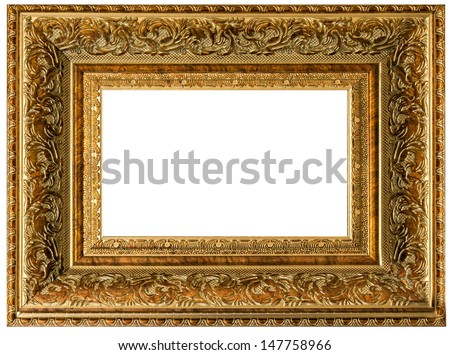One golden wood vintage empty frame isolated on white background
