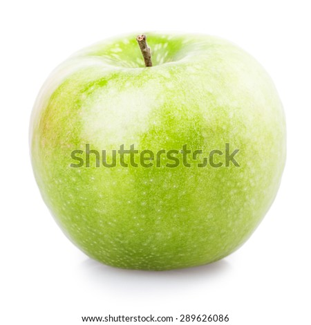 One green apple Isolated on white background - stock photo