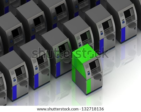 One green ATM ahead of the ATMs. concept image - stock photo