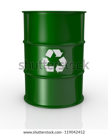 one green barrel with the recycling symbol, concept of alternative energy (3d render) - stock photo
