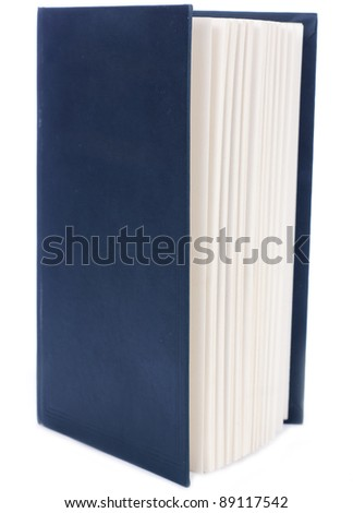 One green blank book with bookmark isolated on white background. - stock photo